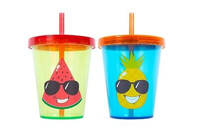 2 x Kids Summer Cups With Lid And Reusable Straw Watermelon Pineapple 400ml fun