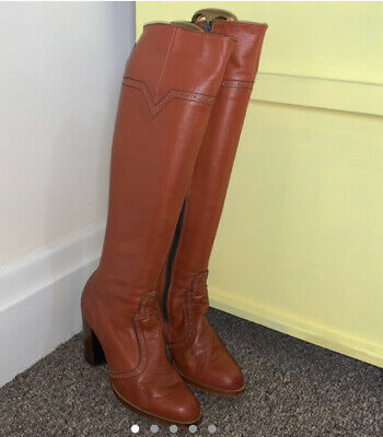 Vintage 60s 70s Mod Rust Orange Knee Boots Brouge Style 5.5