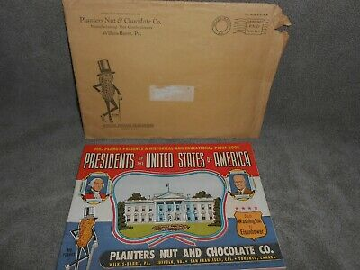 Old 1953 Planters Peanuts Advertising Presidents Of The U.s. Booklet Nice !!