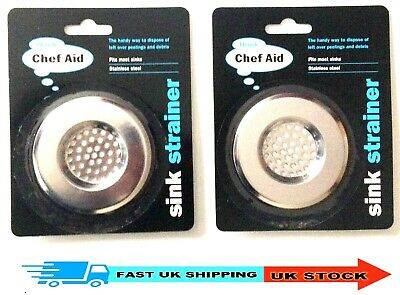 2 x Sink Plug Hole Strainer Stainless Steel Fits Most Kitchen Sinks New