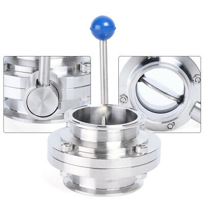 """3"""" Stainless Steel Silver Butterfly Valve Tri Clamp Welding Type Connection New"""