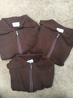 "3x Brown School Zipper Tops Uk Made Quality Bargain 26"" Approx Age 4-5"