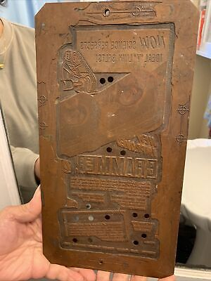 Antique Printing Plate Heavy Copper 1.58 Lb-12 1/2 By 6 1/2 In - Advertising