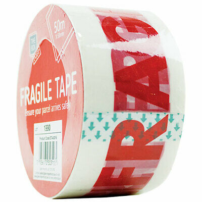 """TWO x 5CM X 50M Rolls Packaging Strong Parcel Tape - White/Red - """"FRAGILE"""" CHEAP"""