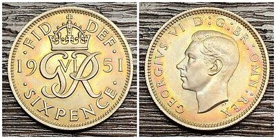 1951 Great Britain 6 Pence Toned Coin (FAL-37)