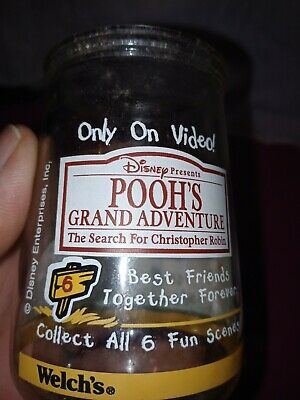 Vintage Disney Pooh's Grand Adventure #2 Pooh & Eeyore Welch's Glass Jelly Jar