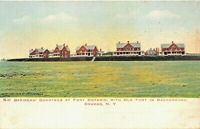 Oswego Ny Officers Quarts To Fort With Old In Background 1900s Postcard