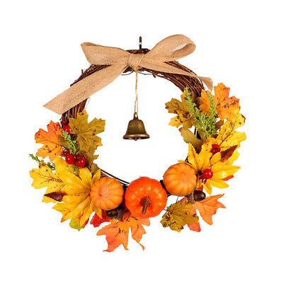 Artificial Halloween Wreath Pumpkins Maple Berries Pine Cones Door Garland