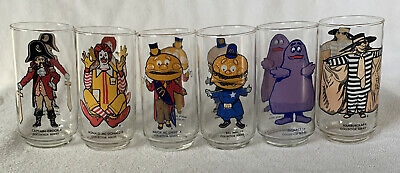 McDonald's Collector Series Glasses Set Of 6 Ronald Grimace Captain Crook + More
