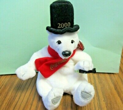Vintage Coca-Cola COKE Bean Bag Plush White Polar Bear  Top Hat ~ Year 2000 Tags