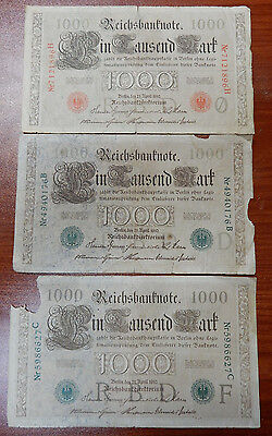 Lot of 3 1910 Germany Empire Imperial Reichsbanknote 1000 Mark--Green & Red Seal