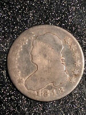 1818 Capped Bust Quarter, Tough Early Date, Scarce Type, solid VG