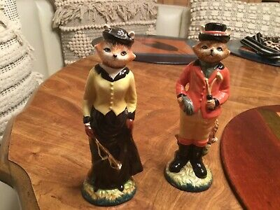 Tall Cats in Riding Garb Gear  Salt and Pepper Shakers Colorful China
