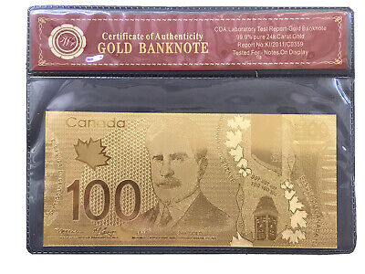 $100 Canada 99.9%  24 Caret Gold Foil Polymer With Certificate Of Authenti