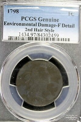 1798 - PCGS GENUINE ENV. DAMAGE - F DETAIL 2ND HAIR STYLE Large Cent!! #B14936