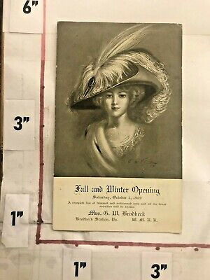 1909 G W Brodbeck Station PA Postcard Fall/Winter Hat Show Millinery Unposted