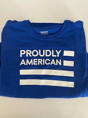 PROUDLY AMERICAN TEE SHIRT T-SHIRT Size L Sky Vodka Blue and White New