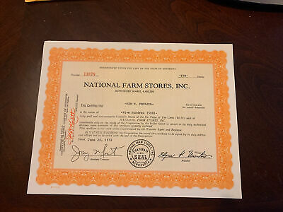 Stock certificate National Farm Stores, Inc.
