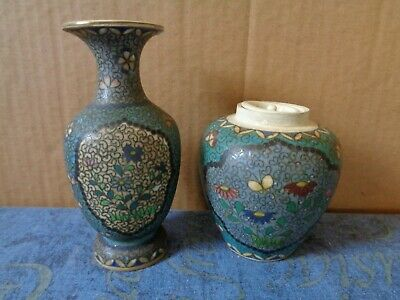 Unusual Cloisonne Style Ceramic Vase And Lidded Pot Unmarked
