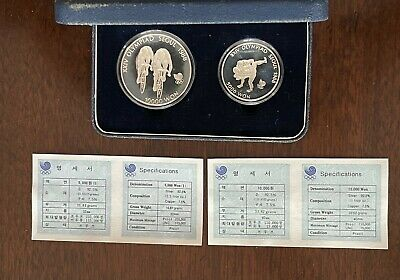 Set of two Korea-South Proof silver coins: 5 000 Won 1988 &10 000 Won 1988 !CoA