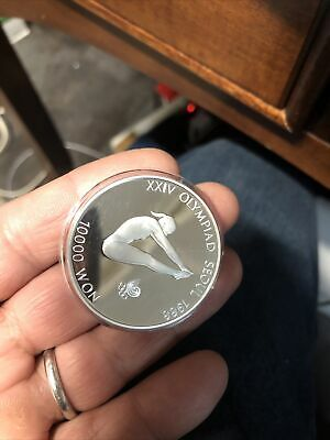 1988 SOUTH KOREA Seoul OLYMPIC GAMES Girl Gymnast Proof Silver 10,000 WON