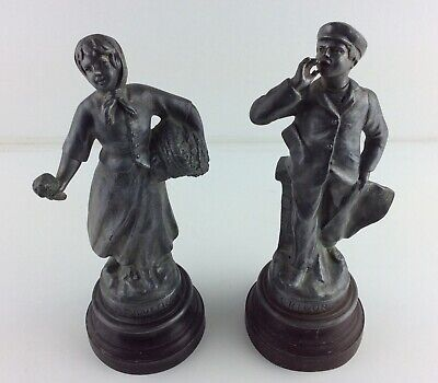 Antique French Pewter Metal Figurines - Girl and Boy Figures