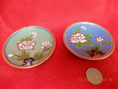 Chinese Cloisonne 2x small plates