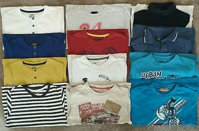 Large Bundle Of 12 Boys Short Sleeve T-shirts Tops Polo Shirt Age 7 Next TU