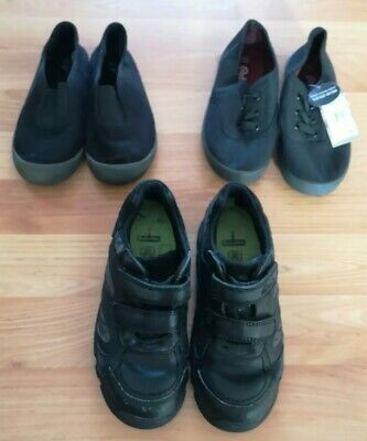 Black Leather Clarks School Shoes Size 12e and 2 Pairs Of Black Plimsoles TU