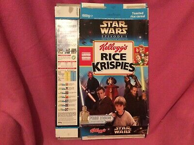 Kelloggs rice crispies cereal packet Star Wars episode one The phantom menace