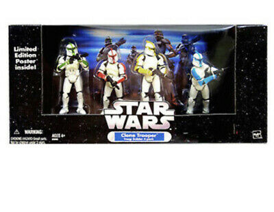 Star Wars 4 Pack Coloured Clone Troopers Without Battle Damage Hasbro 2005