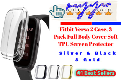 3 Pack for Fitbit Versa 2 Screen Portector Soft Full Body  Silver & Black & Gold