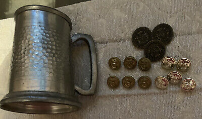 Old Navy Buttons/ Old Police Uniform Buttons & A Pewter Tankard See Description
