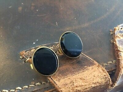 ANTIQUE Pair Cuff Studs Buttons READINGS PATENT Bachelor Black Bevelled