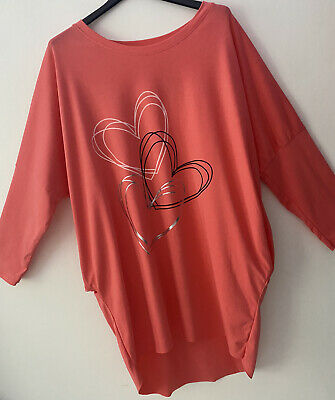 Made In Italy Lagenlook Oversized Quirky Batwing Cotton Loose Top One Size 14-20