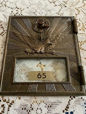 Antique Large post office box brass door with eagle, sunrays and arrows