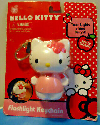 Hello KITTY Flashlight Keychain Keyring Sanrio Pink NEW NRFP Flower Retired 2011