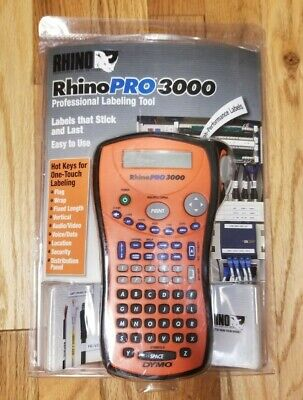 Dymo Rhino Pro 3000 Label Maker / Thermal Printer Includes Rubber Case & Labels