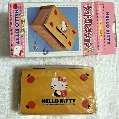 Vintage Hello Kitty Tiny Wooden jewelry box Wood Collection 2 Cute New In Box !!