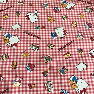 Sanrio Hello Kitty Fabric 1/2 yard Red gingham Book Plush Cookies Scissors Plane