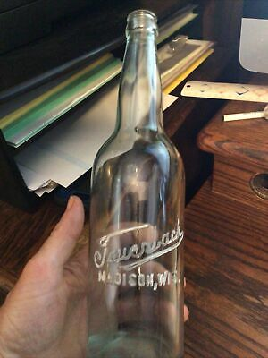 "11.5"" Fauerbach Madison Wis. Beer Bottle 1918 Brewery Wisconsin Wi"