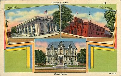 Fitchburg Ma Multi View Post Office Armory Shoes House Postcard