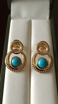 Sterling Silver Gold Plated Arizona Sleeping Beauty Turquoise Stud Earrings