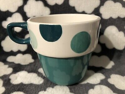 NEW M/&S REPLACEMENT STACKING MUG STACKABLE GREEN SPOT TEAL DOT MARKS AND SPENCER