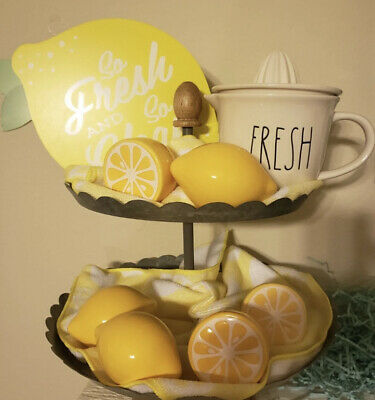 Lemon Wood Tiered Tray Summer Home Decor Lemonade Stand Rustic Kitchen Signs Set 37 99 Picclick