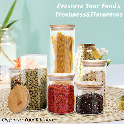 Glass Food Storage Container WUWEOT 3 Pack Glass Jars with Airtight Bamboo Lids