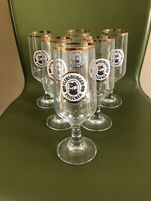"""Set of 6 Measures 8 1//4"""" Tall Brand New Flensburger Weizen Tall Beer Glasses"""