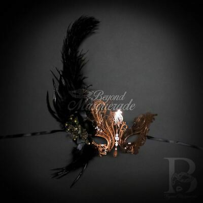 Elegant Swan Feather Mask Rose Gold Masquerade Ball M7139 Halloween Face Costume