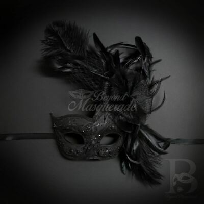 Party Mask Feather Masquerade Black M8349 Halloween Costume Face Cospl
