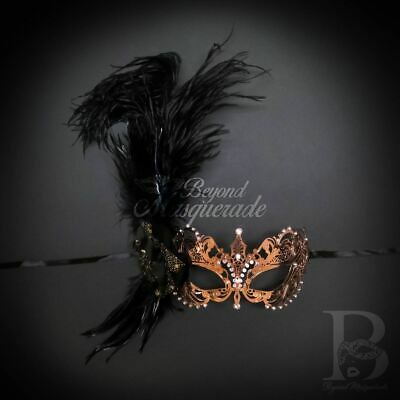 Extravagant Feather Mask Rose Gold M33143 Halloween Face Costume